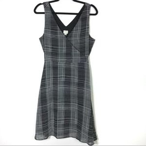 A New Day B/W Plaid Sleeveless Dress M EUC